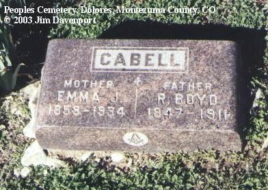 CABELL, EMMA J. - Montezuma County, Colorado | EMMA J. CABELL - Colorado Gravestone Photos