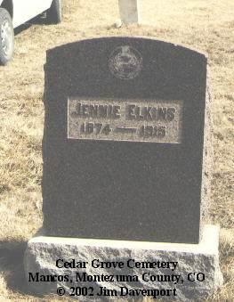 ELKINS, JENNIE - Montezuma County, Colorado | JENNIE ELKINS - Colorado Gravestone Photos