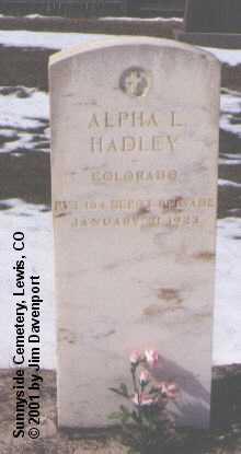 HADLEY, ALPHA L. - Montezuma County, Colorado   ALPHA L. HADLEY - Colorado Gravestone Photos