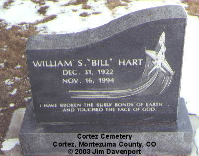HART, WILLIAM S. - Montezuma County, Colorado | WILLIAM S. HART - Colorado Gravestone Photos