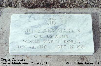 MARTIN, GILLIE REX - Montezuma County, Colorado | GILLIE REX MARTIN - Colorado Gravestone Photos