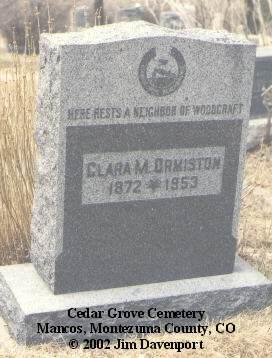 ORMISTON, CLARA M. - Montezuma County, Colorado   CLARA M. ORMISTON - Colorado Gravestone Photos