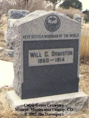 ORMISTON, WILL C. - Montezuma County, Colorado   WILL C. ORMISTON - Colorado Gravestone Photos