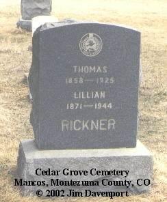 RICKNER, LILLIAN - Montezuma County, Colorado | LILLIAN RICKNER - Colorado Gravestone Photos