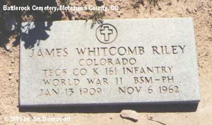 RILEY, JAMES WHITCOMB - Montezuma County, Colorado | JAMES WHITCOMB RILEY - Colorado Gravestone Photos