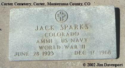 SPARKS, JACK - Montezuma County, Colorado | JACK SPARKS - Colorado Gravestone Photos