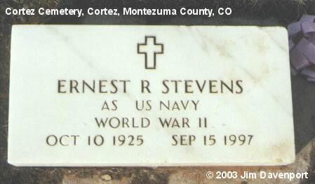 STEVENS, ERNEST R. - Montezuma County, Colorado | ERNEST R. STEVENS - Colorado Gravestone Photos