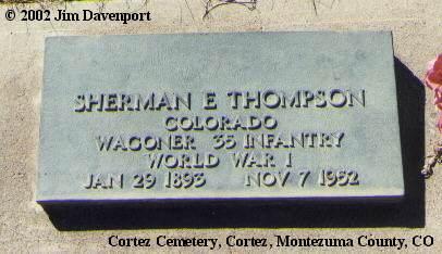 THOMPSON, SHERMAN E. - Montezuma County, Colorado   SHERMAN E. THOMPSON - Colorado Gravestone Photos