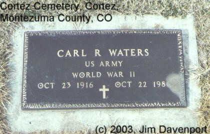 WATERS, CARL R. - Montezuma County, Colorado | CARL R. WATERS - Colorado Gravestone Photos