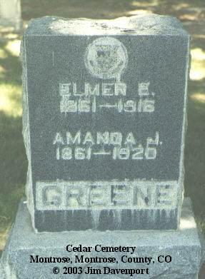 GREENE, AMANDA J. - Montrose County, Colorado | AMANDA J. GREENE - Colorado Gravestone Photos