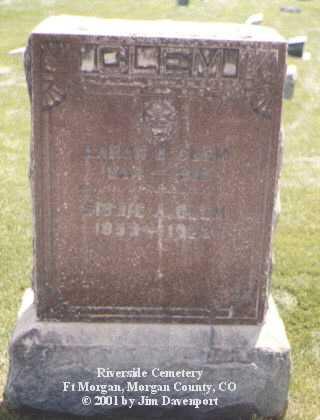 CLEM, SIBBIE A. - Morgan County, Colorado | SIBBIE A. CLEM - Colorado Gravestone Photos