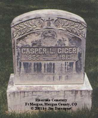 GIGER, CASPER L. - Morgan County, Colorado | CASPER L. GIGER - Colorado Gravestone Photos