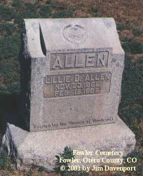 ALLEN, LILLIE D. - Otero County, Colorado | LILLIE D. ALLEN - Colorado Gravestone Photos