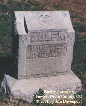 ALLEN, LILLIE D. - Otero County, Colorado   LILLIE D. ALLEN - Colorado Gravestone Photos