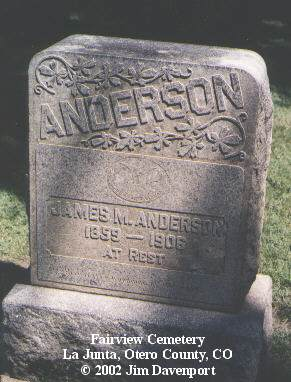ANDERSON, JAMES M. - Otero County, Colorado | JAMES M. ANDERSON - Colorado Gravestone Photos