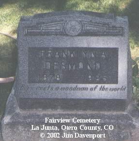 DESMOND, FRANKLYN A. - Otero County, Colorado | FRANKLYN A. DESMOND - Colorado Gravestone Photos
