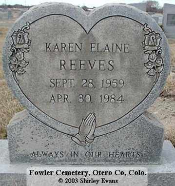 REEVES KAREN, ELAINE - Otero County, Colorado | ELAINE REEVES KAREN - Colorado Gravestone Photos