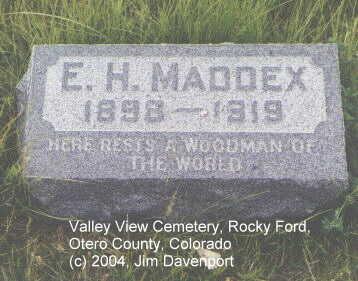 MADDEX, E. H. - Otero County, Colorado | E. H. MADDEX - Colorado Gravestone Photos