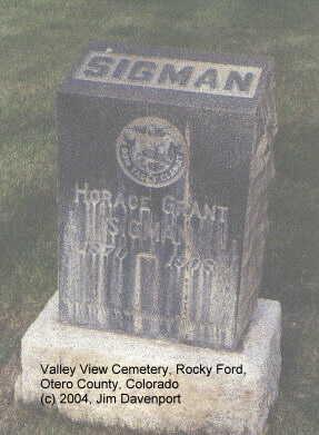 SIGMAN, HORACE GRANT - Otero County, Colorado | HORACE GRANT SIGMAN - Colorado Gravestone Photos
