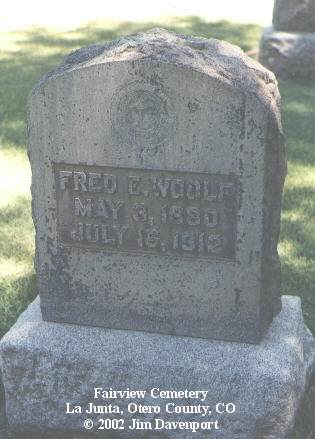 WOOLF, FRED E. - Otero County, Colorado | FRED E. WOOLF - Colorado Gravestone Photos