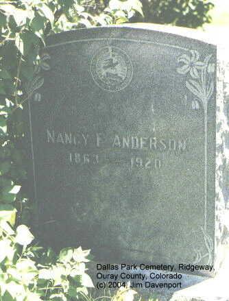 ANDERSON, NANCY E. - Ouray County, Colorado | NANCY E. ANDERSON - Colorado Gravestone Photos