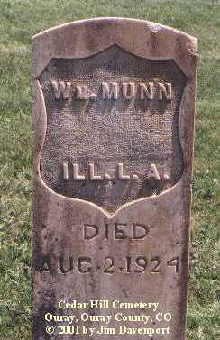 MUNN, WM. - Ouray County, Colorado   WM. MUNN - Colorado Gravestone Photos