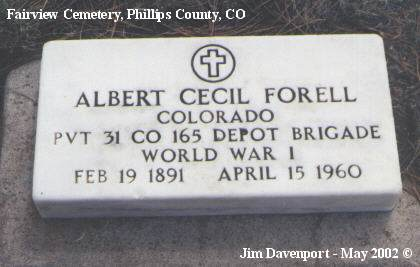 FORELL, ALBERT CECIL - Phillips County, Colorado | ALBERT CECIL FORELL - Colorado Gravestone Photos