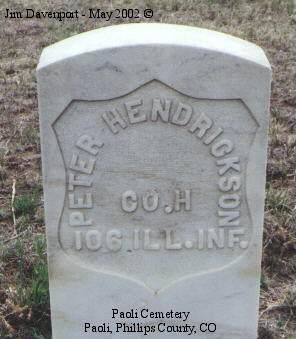 HENDRICKSON, PETER - Phillips County, Colorado | PETER HENDRICKSON - Colorado Gravestone Photos