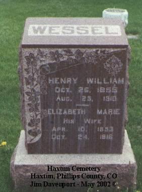 WESSEL, ELIZABETH MARIE - Phillips County, Colorado | ELIZABETH MARIE WESSEL - Colorado Gravestone Photos