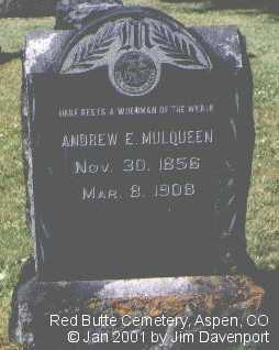 MULQUEEN, ANDREW E. - Pitkin County, Colorado | ANDREW E. MULQUEEN - Colorado Gravestone Photos