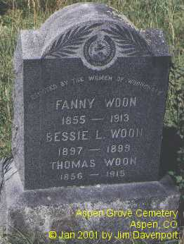 WOON, FANNY - Pitkin County, Colorado | FANNY WOON - Colorado Gravestone Photos