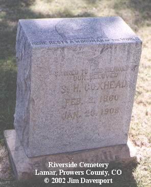 COXHEAD, S. H. - Prowers County, Colorado   S. H. COXHEAD - Colorado Gravestone Photos