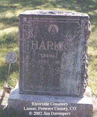 HARKER, THOMAS J. - Prowers County, Colorado   THOMAS J. HARKER - Colorado Gravestone Photos