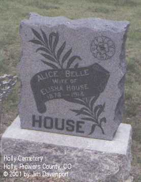 HOUSE, ALICE BELLE - Prowers County, Colorado   ALICE BELLE HOUSE - Colorado Gravestone Photos