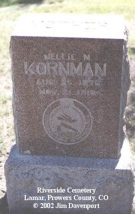 KORNMAN, NELLIE M. - Prowers County, Colorado | NELLIE M. KORNMAN - Colorado Gravestone Photos