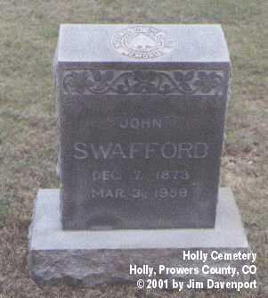 SWAFFORD, JOHN - Prowers County, Colorado   JOHN SWAFFORD - Colorado Gravestone Photos