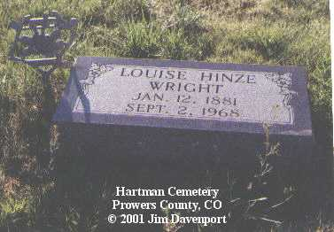 HINZE WRIGHT, LOUISE - Prowers County, Colorado | LOUISE HINZE WRIGHT - Colorado Gravestone Photos