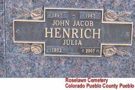 HENRICH, JOHN JACOB - Pueblo County, Colorado | JOHN JACOB HENRICH - Colorado Gravestone Photos