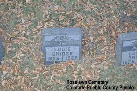 SNIDER, LOUIS - Pueblo County, Colorado | LOUIS SNIDER - Colorado Gravestone Photos