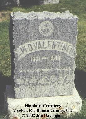 VALENTINE, W. D. - Rio Blanco County, Colorado | W. D. VALENTINE - Colorado Gravestone Photos