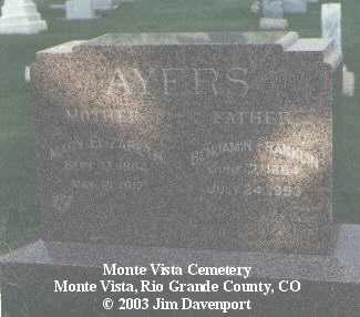 AYERS, BENJAMIN FRANKLIN - Rio Grande County, Colorado | BENJAMIN FRANKLIN AYERS - Colorado Gravestone Photos