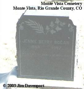 BERRY BOGAN, JENNIE - Rio Grande County, Colorado | JENNIE BERRY BOGAN - Colorado Gravestone Photos