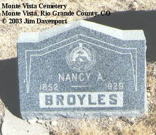 BROYLES, NANCY - Rio Grande County, Colorado | NANCY BROYLES - Colorado Gravestone Photos
