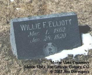 ELLIOTT, WILLIE F. - Rio Grande County, Colorado | WILLIE F. ELLIOTT - Colorado Gravestone Photos