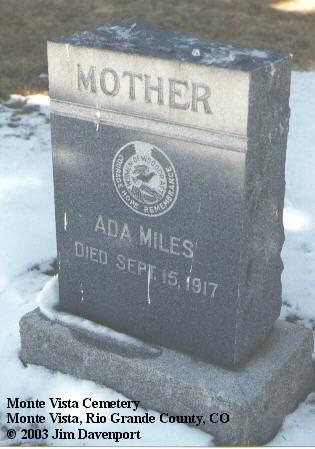 MILES, ADA - Rio Grande County, Colorado | ADA MILES - Colorado Gravestone Photos