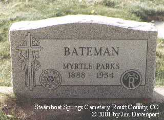 PARKS BATEMAN, MYRTLE - Routt County, Colorado | MYRTLE PARKS BATEMAN - Colorado Gravestone Photos