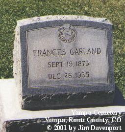 GARLAND, FRANCES - Routt County, Colorado | FRANCES GARLAND - Colorado Gravestone Photos