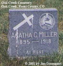 MILLER, AGATHA C. - Routt County, Colorado   AGATHA C. MILLER - Colorado Gravestone Photos
