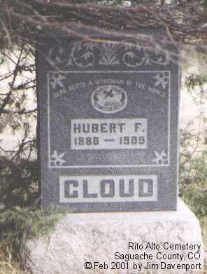 CLOUD, HUBERT F. - Saguache County, Colorado | HUBERT F. CLOUD - Colorado Gravestone Photos