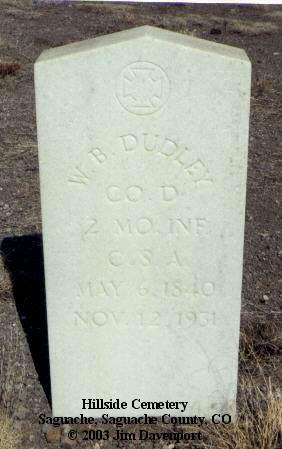 DUDLEY, W. B. - Saguache County, Colorado | W. B. DUDLEY - Colorado Gravestone Photos